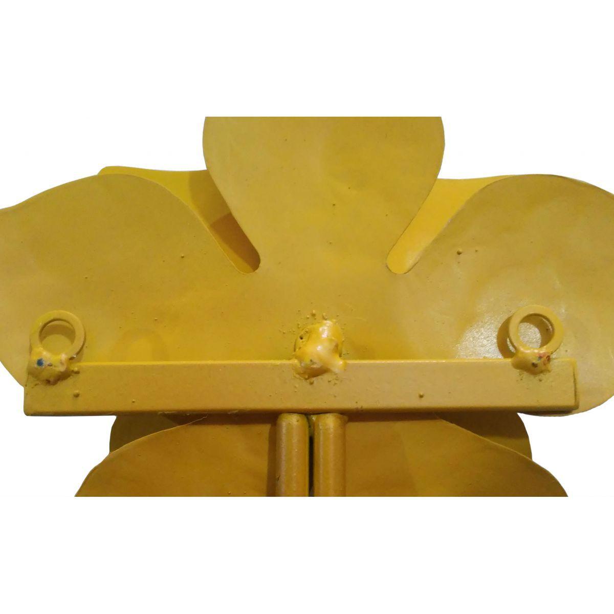 Gancho de Parede de Ferro para Quarto Artesanal Flor Rústico Ferro e Lata
