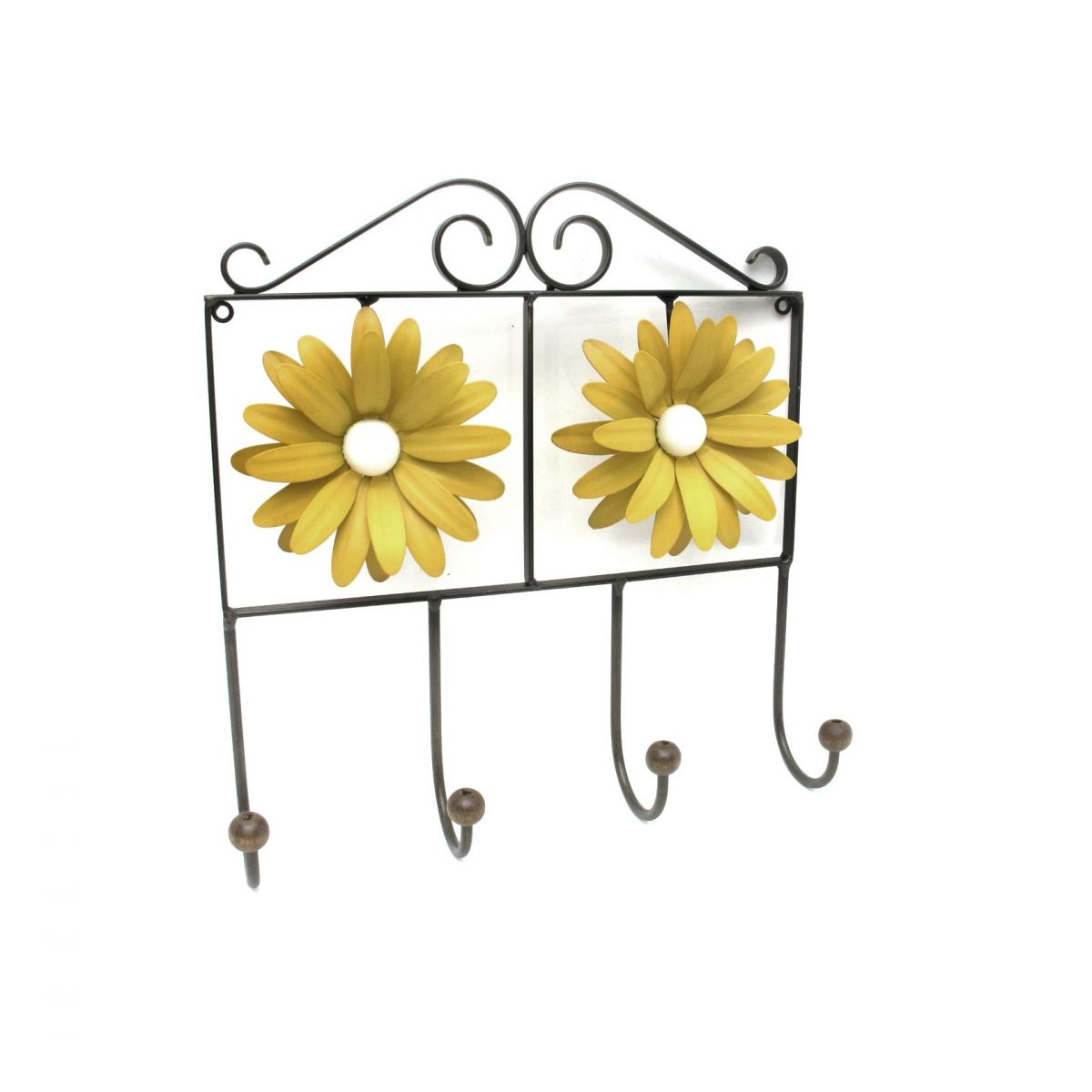 Cabide de Quarto para Roupa de Ferro com Flores Artesanais Rustico de Lata