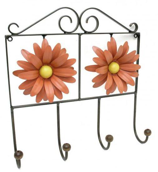 Cabide de Parede de Ferro Artesanal para Toalha de Rosto de Banheiro com Flor