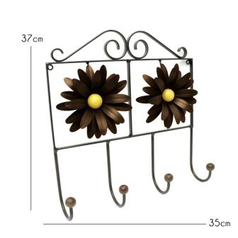 Cabide Rustico de Parede para Bolsas e Roupas Artesanal de Ferro com Flores