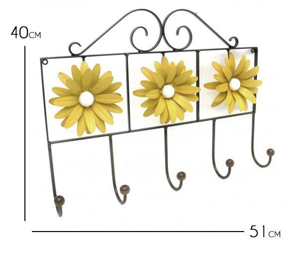 Cabide de Ferro Artesanal para Quarto Pendurador de Bolsa e Roupas com Flor