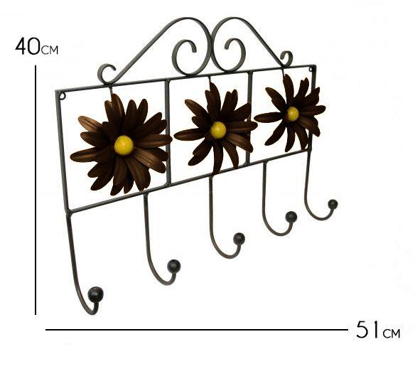 Cabide com Flor Artesanal Rústico Decorativo de Ferro para Quarto de Parede