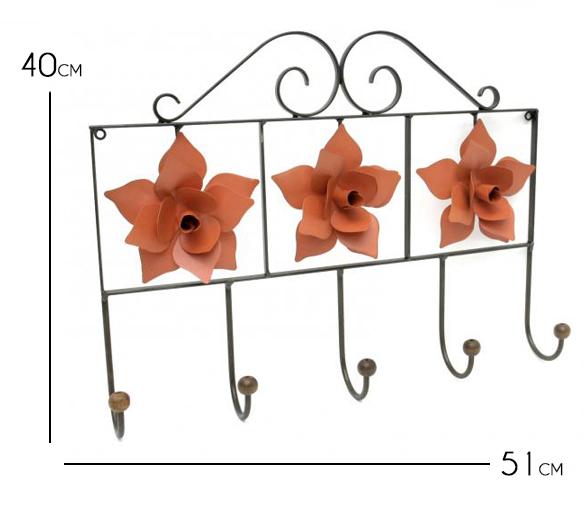 Cabideiro para Bolsas de Parede Rústico de Ferro Artesanal com Flores Decorativas