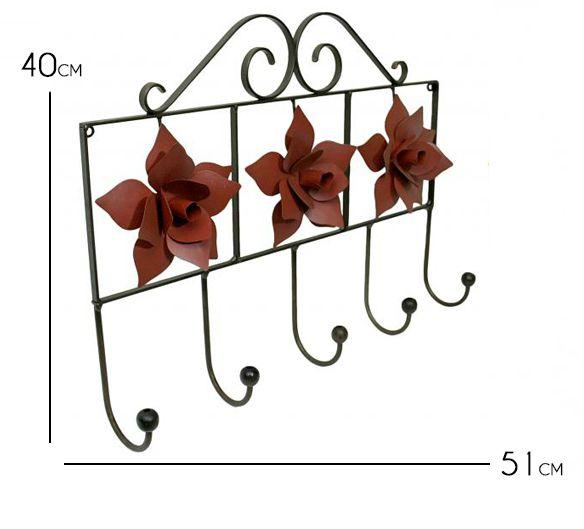 Cabide para Quarto de Parede de Ferro para Roupa e Bolsa com Flores