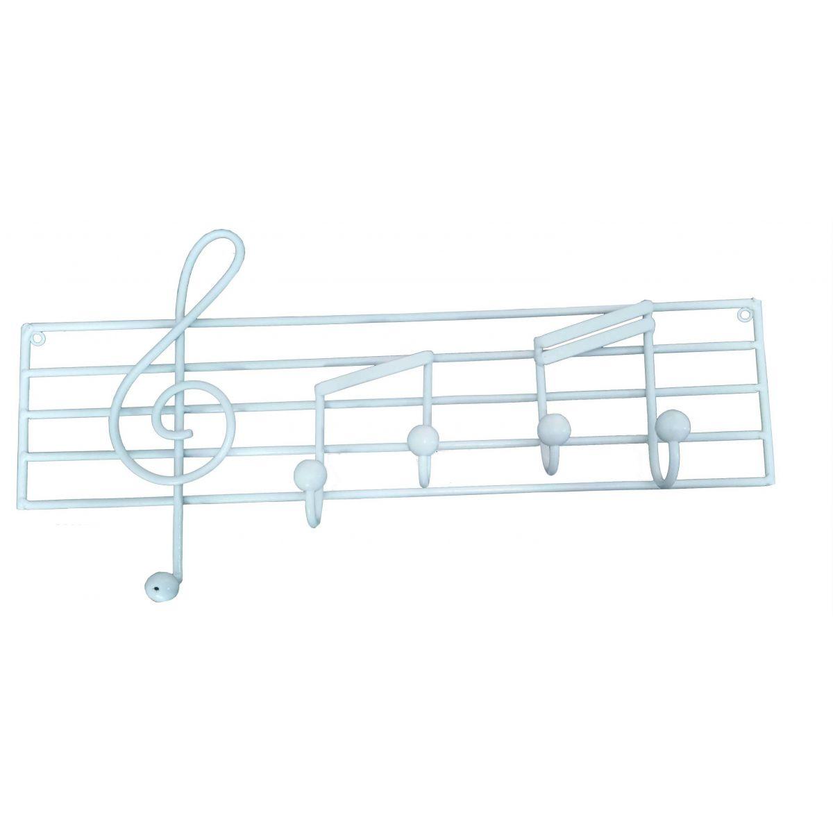 Porta Toalha Artesanal Ferro com Notas Musicais para Parede na cor Branco Moderno