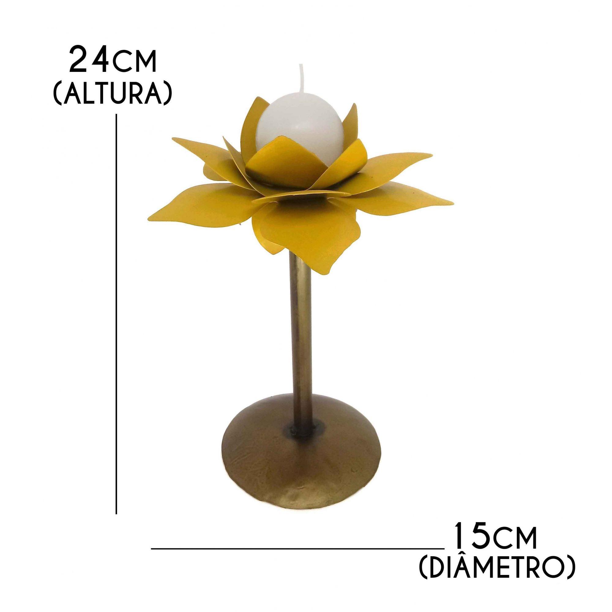 Castiçal De Ferro Rustico Decorativo Em Flor Para Mesa Ferro