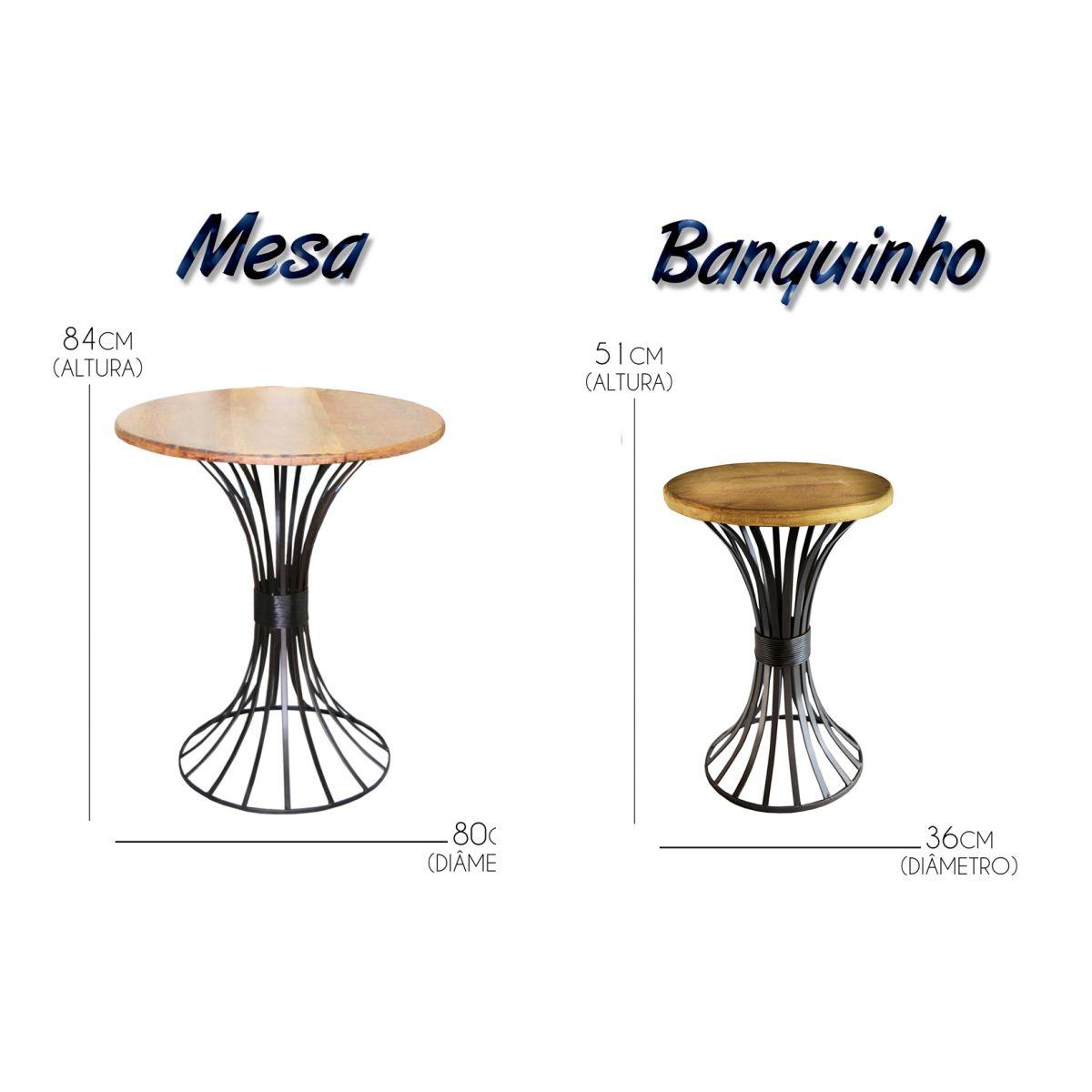 Conjunto de Mesa Redonda e 4 Bancos Modernos Artesanais Sala , Cozinha ou Varanda