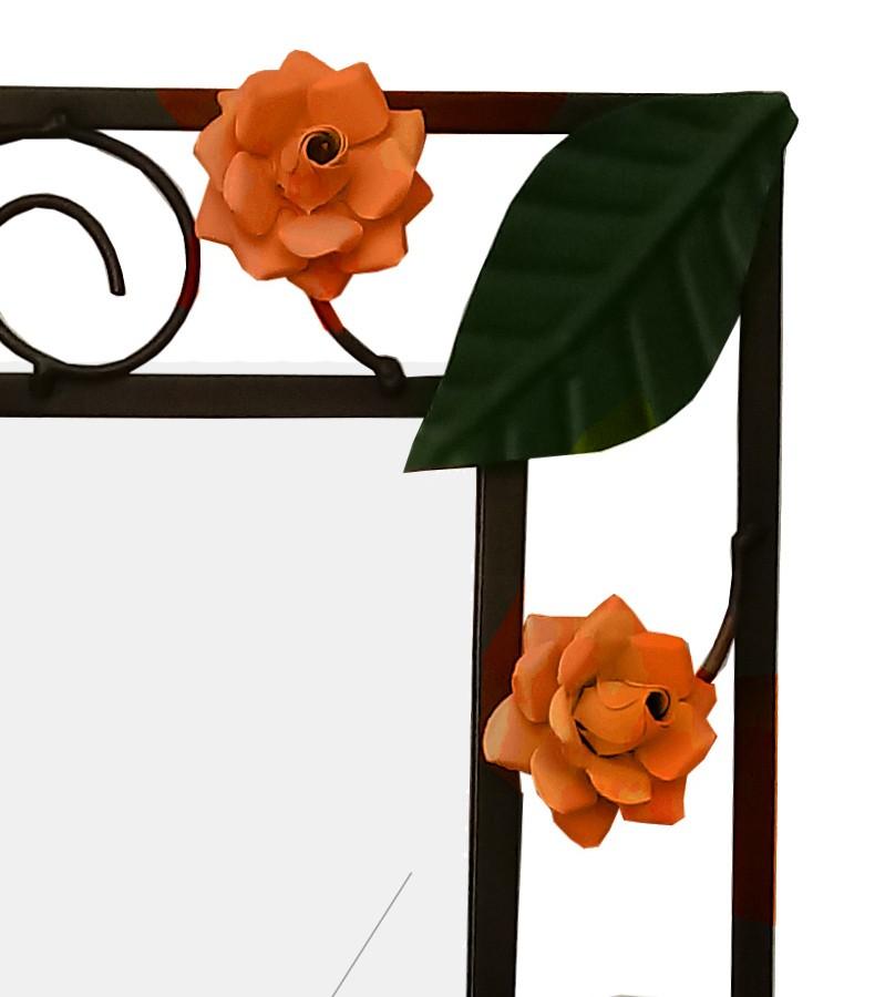 Espelho Sala Artesanal de Ferro com Moldura Rustica com Flores