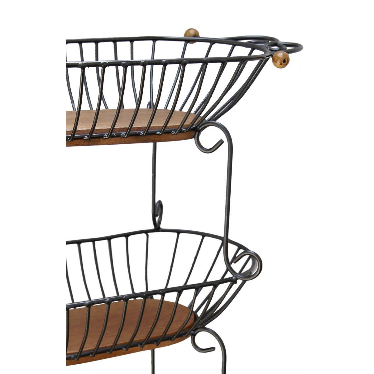 Fruteira Artesanal em Ferro e Madeira de Demolição Rústica para Cozinha e Área Gourmet