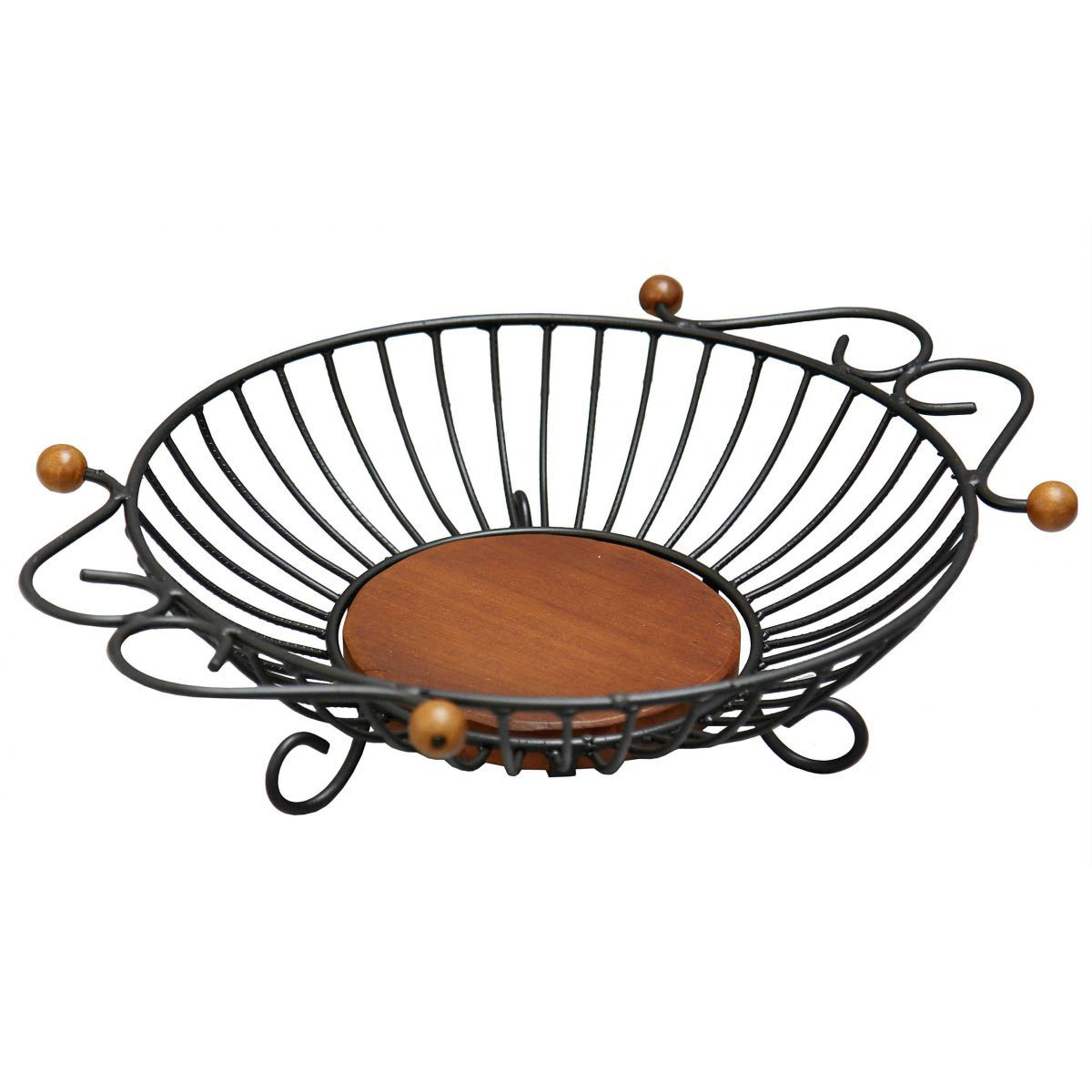Fruteira de Mesa Redonda Artesanal em Ferro e Madeira Rústica Decorativa