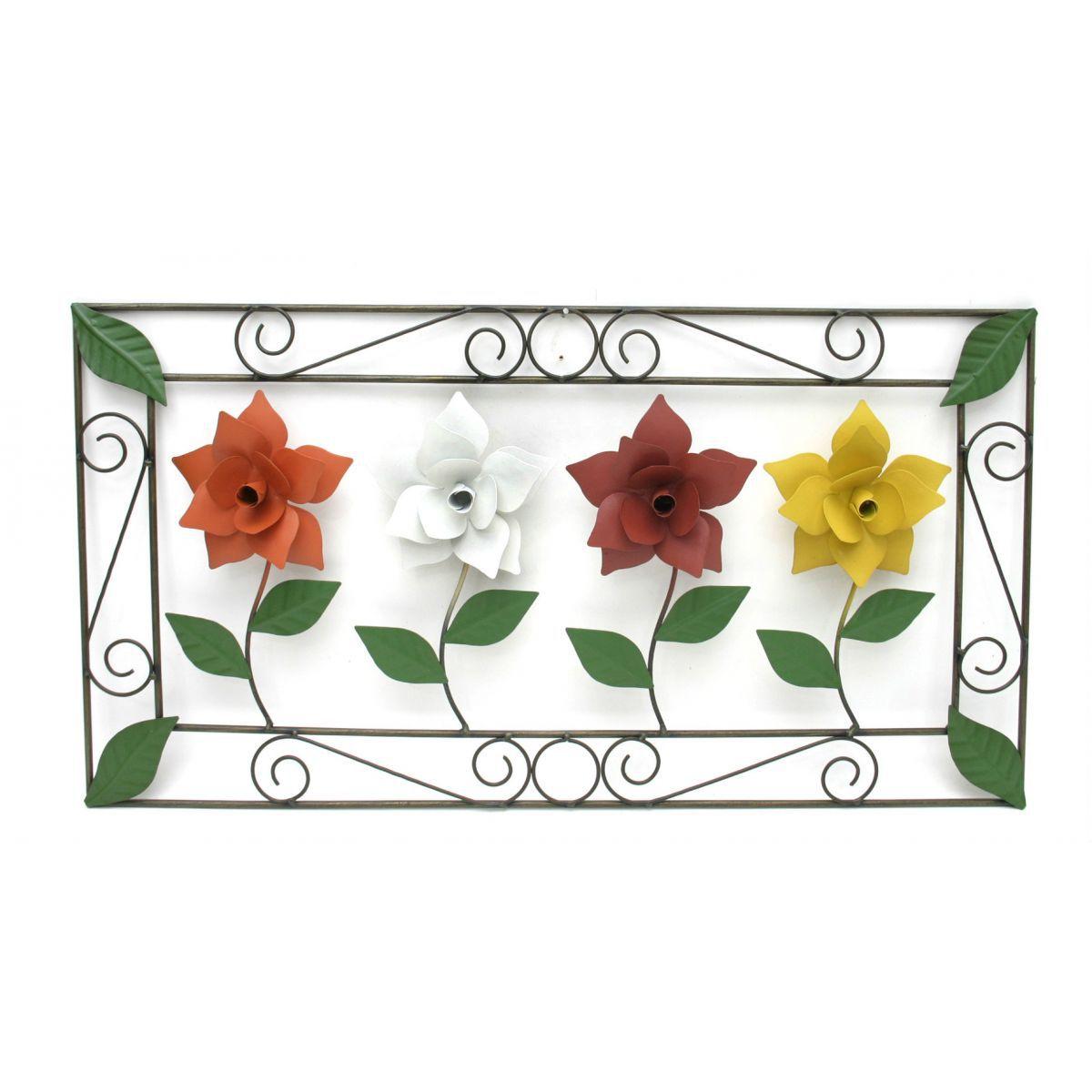 Quadro Artesanal de Parede Rustico em Ferro com Flores Coloridas