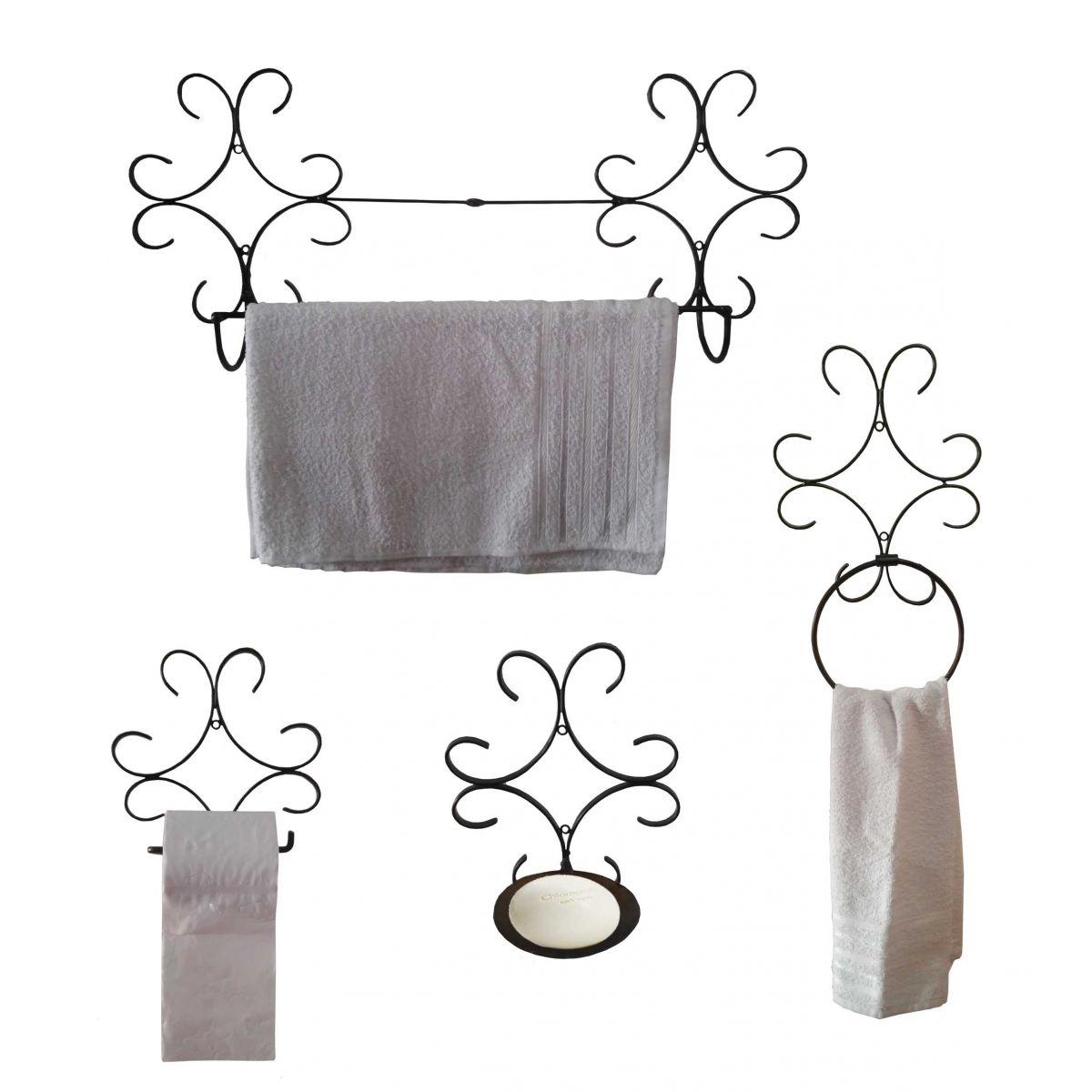 Kit Banheiro Artesanal, Toalha, Papel e Sabonete em Ferro Rústico