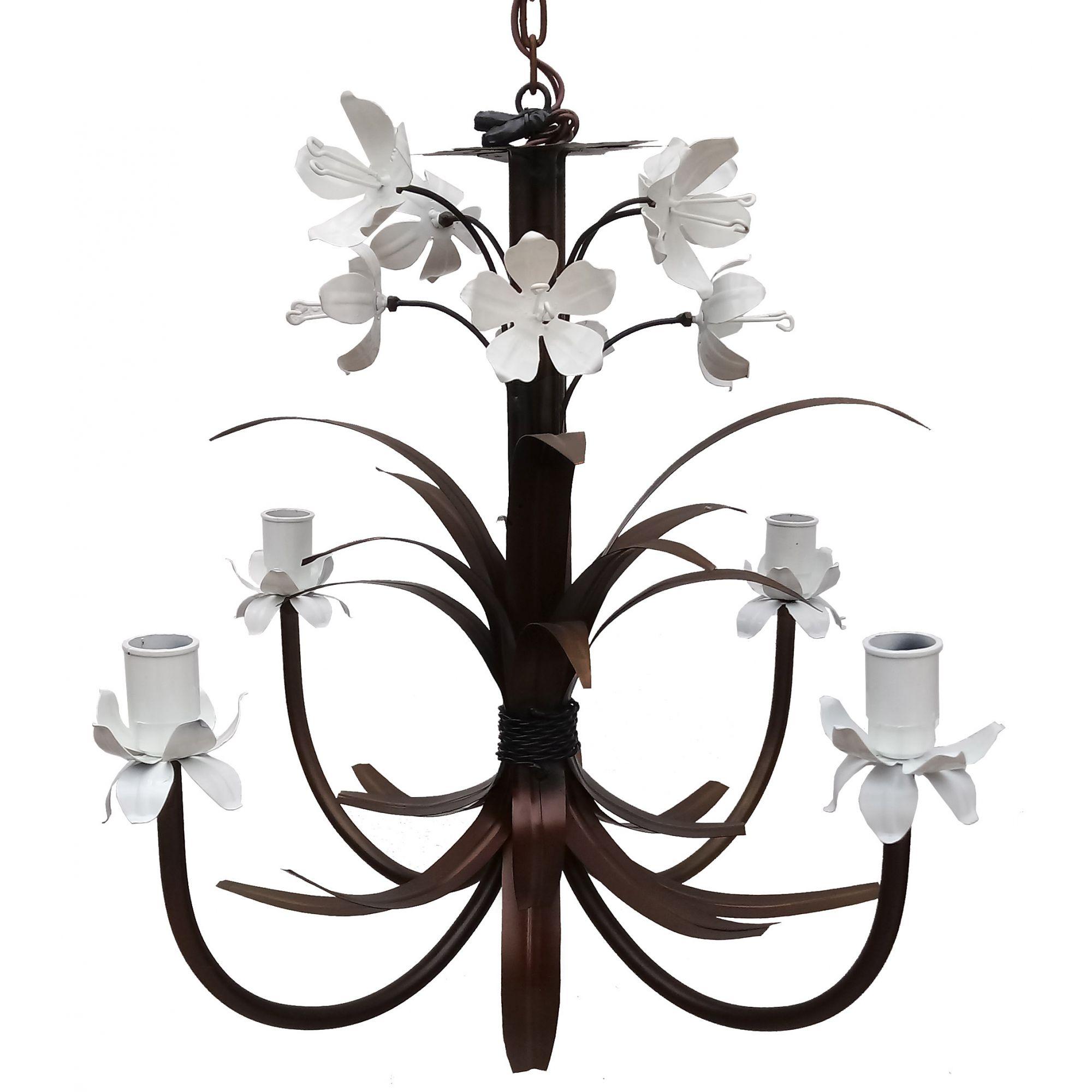 Linda Luminária de Ferro com Lírios Artesanais Iluminação Sala de Estar