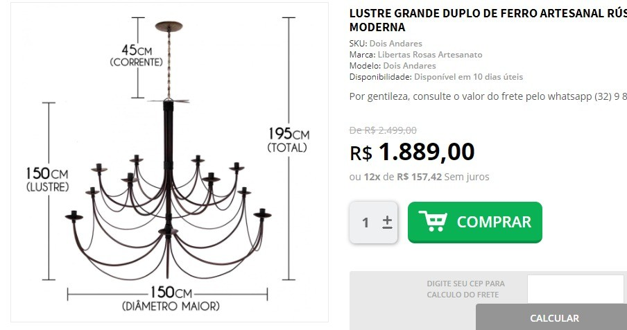 Link Lustre 12 Bocais 1,50 de diâmetro + Frete