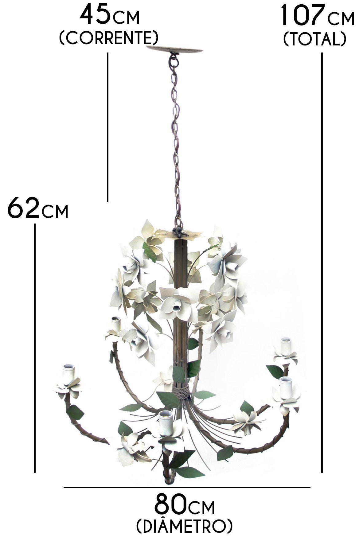 Luminária Artesanal para Sala de Ferro Rústica com Flores 06 Bocais