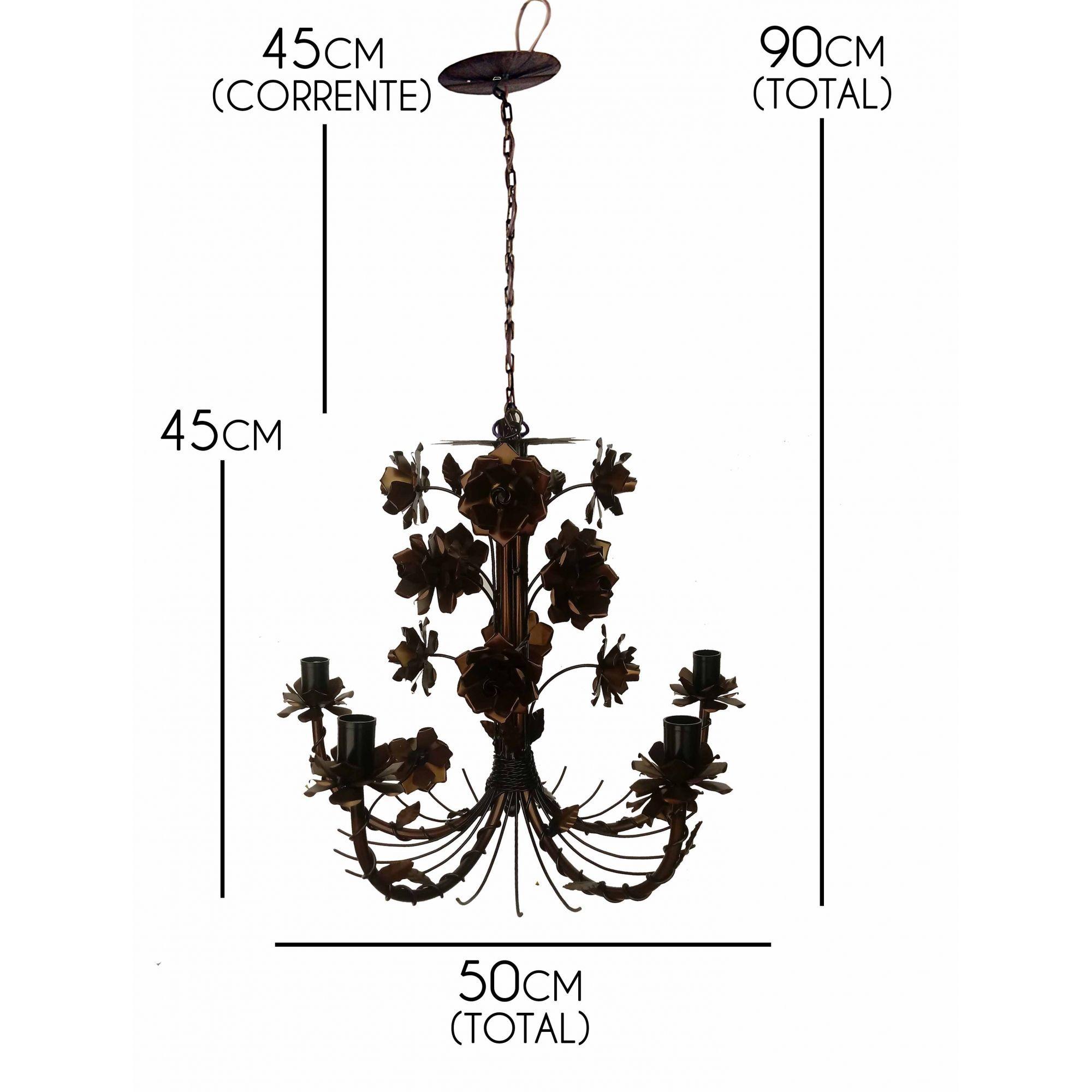 Luminaria Bonita de Ferro para Sala de Estar e Copa com Flores Rustica