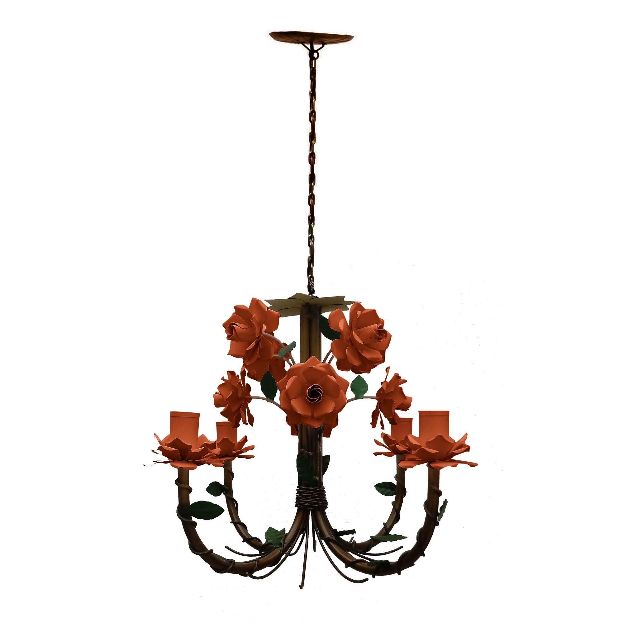 Luminária com Flores de Ferro Artesanal de Teto para Quarto de Casal