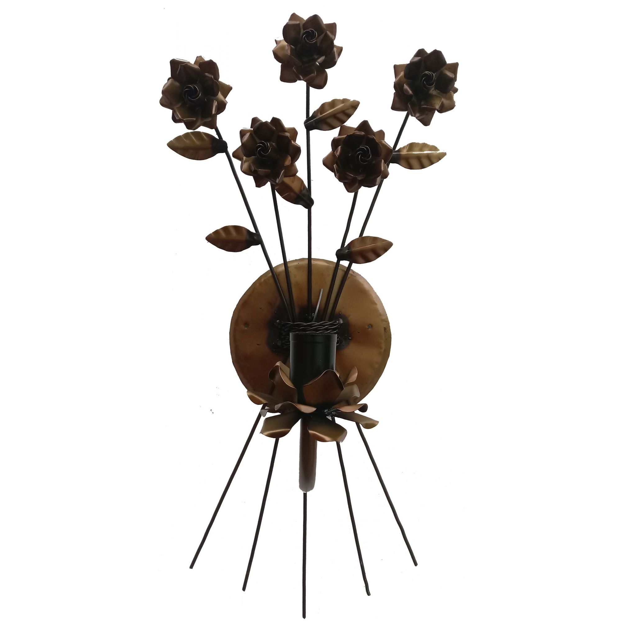 Luminária de Artesanato em Ferro de Parede com Flores Artesanais Rustica
