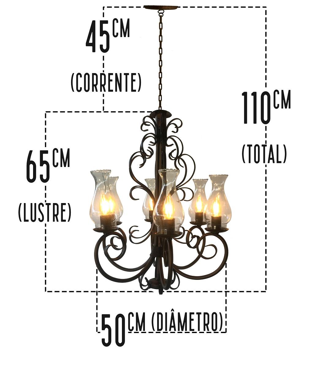 Luminária Rústica de De Ferro Artesanal Com Cúpulas De Vidro