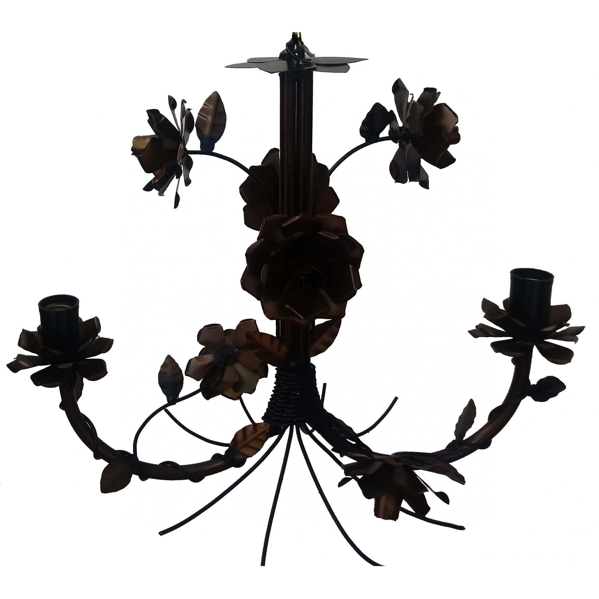 Luminaria de Ferro Artesanal Rustica com Flores Pequena para Salinha de Jantar
