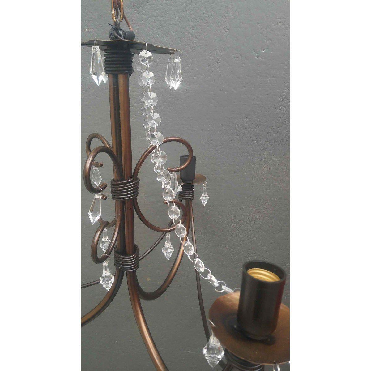 Luminaria De Ferro com Cristal Acrilico de Teto para Sala de Jantar