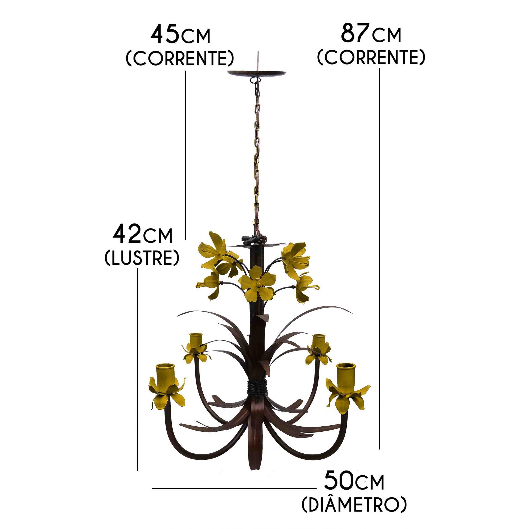 Luminaria de Ferro com Flores Artesanais Lirio Decoração Area Gourmet