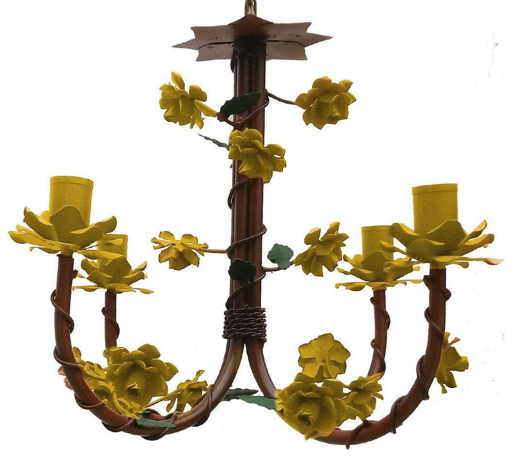 Luminária de Ferro com Flores Artesanais para Quarto de Criança