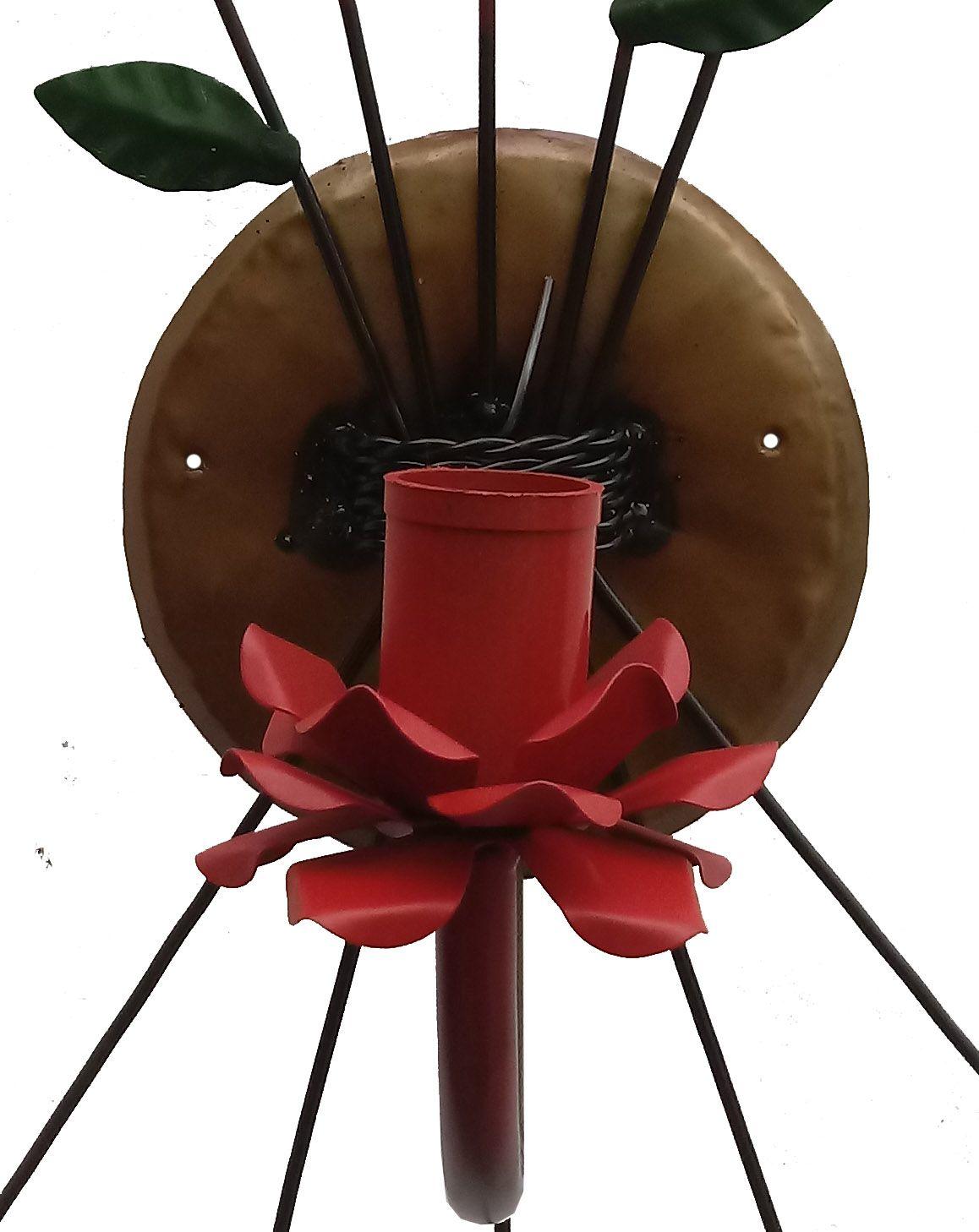 Luminaria de Parede com Flores de Metal Artesanal para Quarto Solteiro