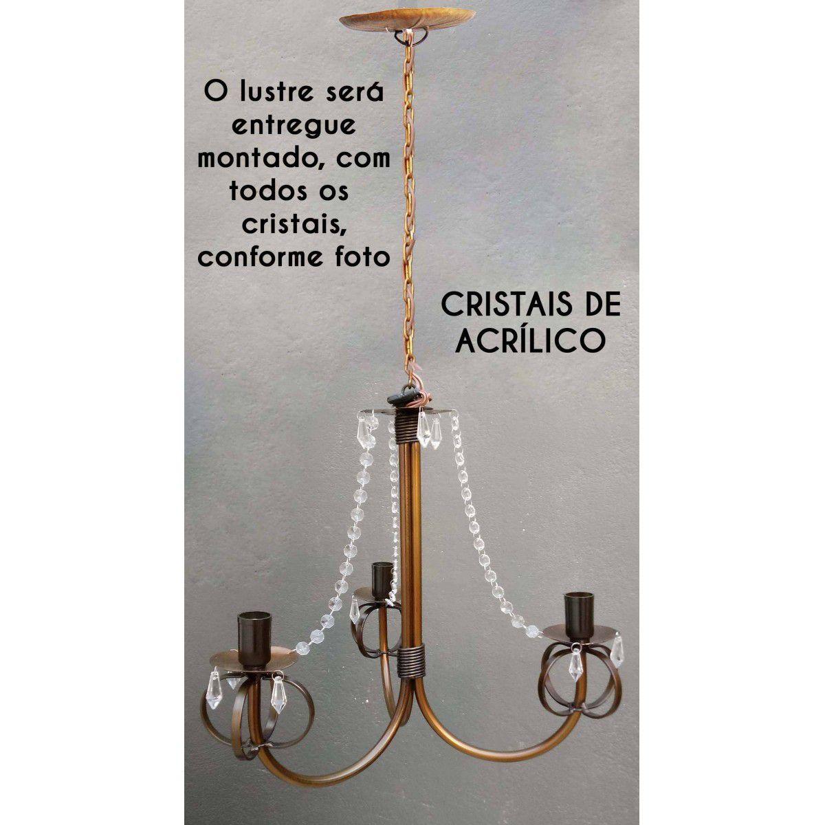 Luminaria De Teto Rustico com Cristais para Sala de Jantar e Estar Bom Preço