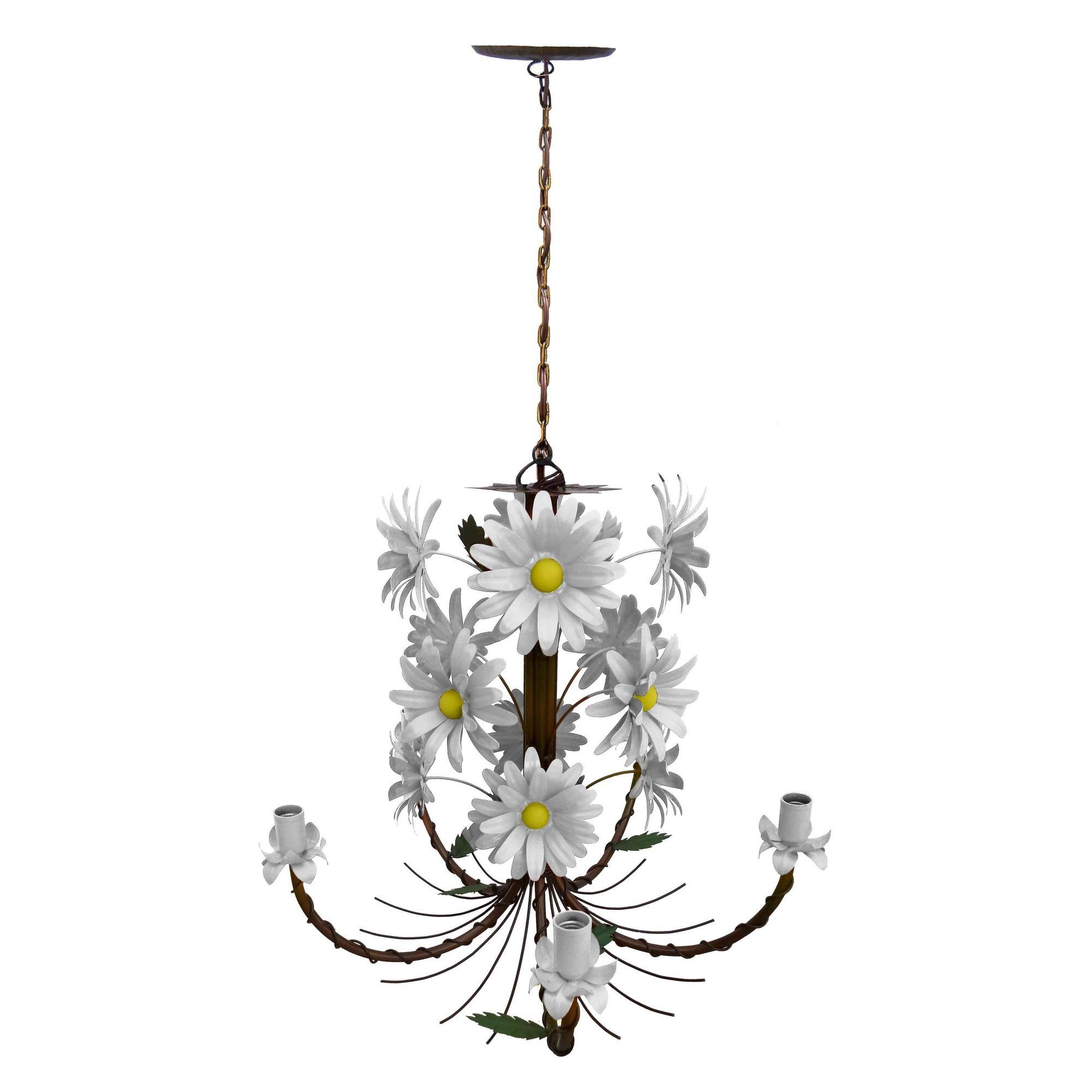 Luminaria de Teto Preço de Fabrica Artesanal em Ferro com Flores Colorida