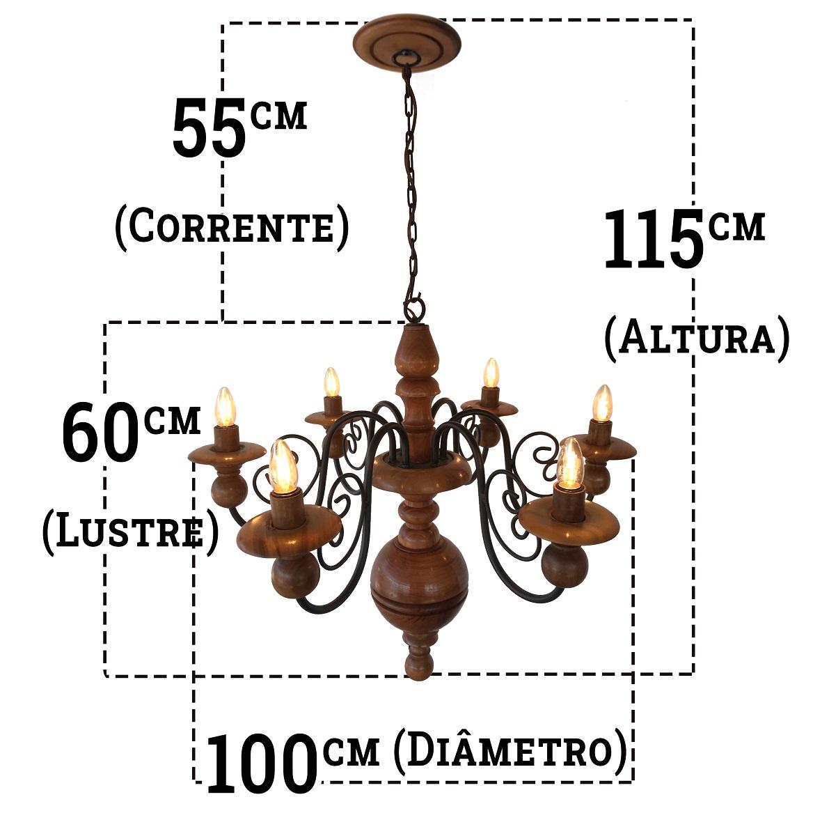 Luminária De Teto Rustica Em Madeira e Ferro Com Cupulas
