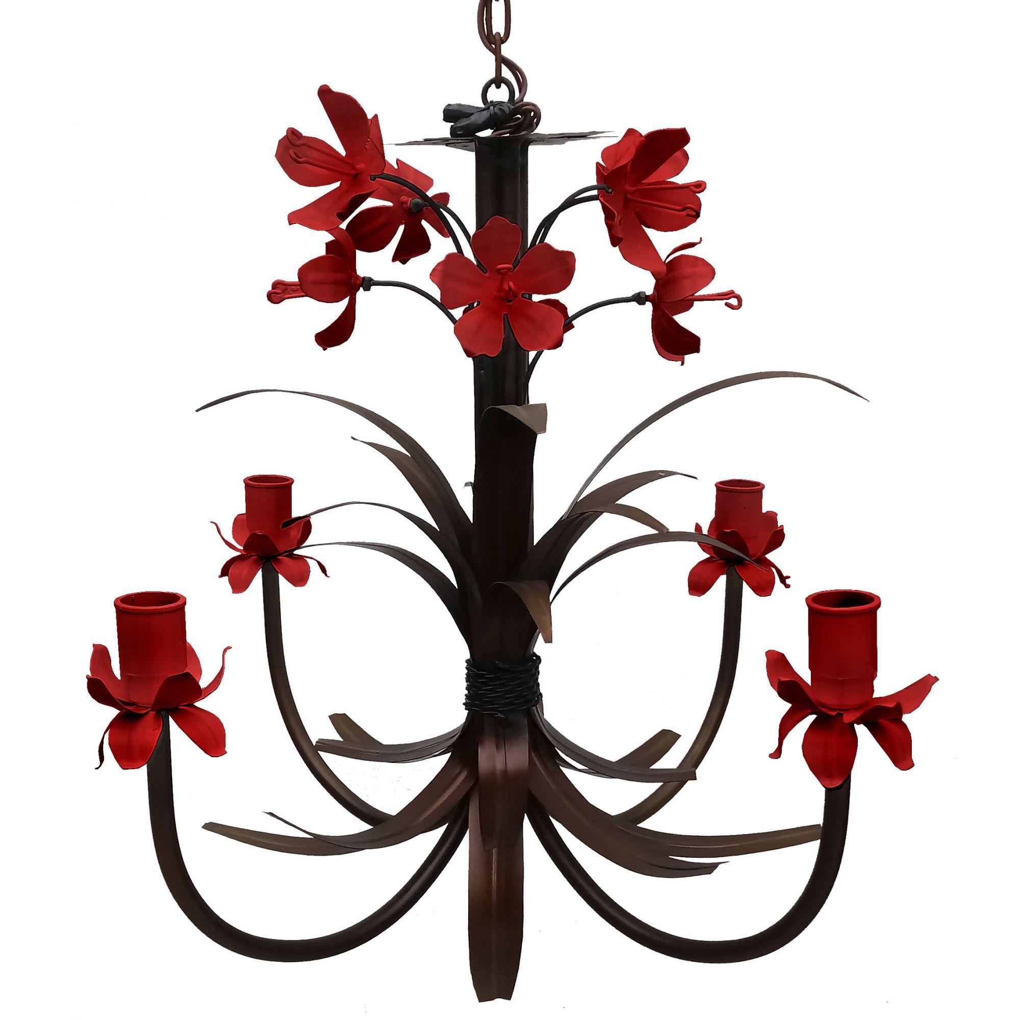 Luminaria Lustre de Lirios Flores Artesanais Decoção Sala de Jantar