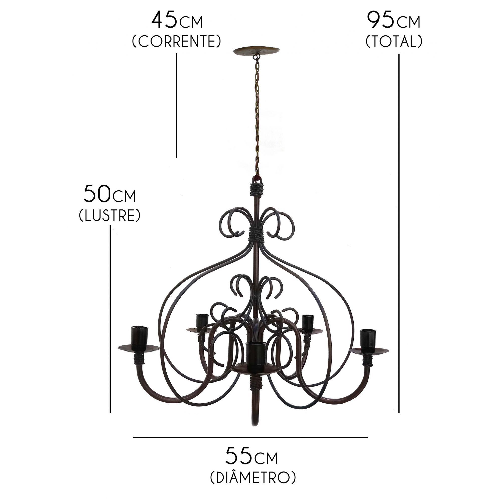 Luminaria Rustica De Ferro Artesanal Para Iluminação De Sala de Estar
