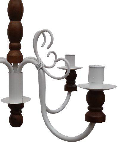 Luminaria Torneada De Ferro E Madeira para Decoração de Sala Jantar