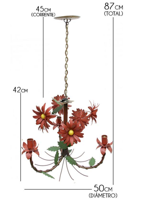 Lustre Artesanal com Flores para Varanda de Ferro Rustico 03 Bocas