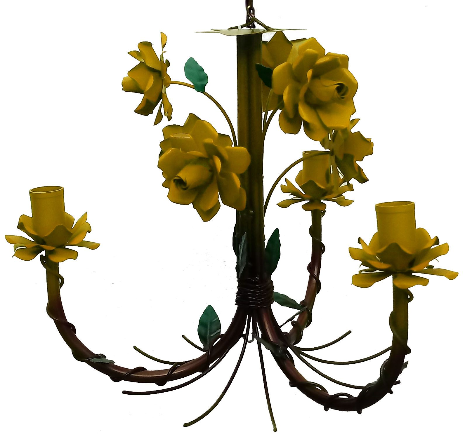 Lustre Artesanal de Ferro com Flores Rustico para Sala de Estar