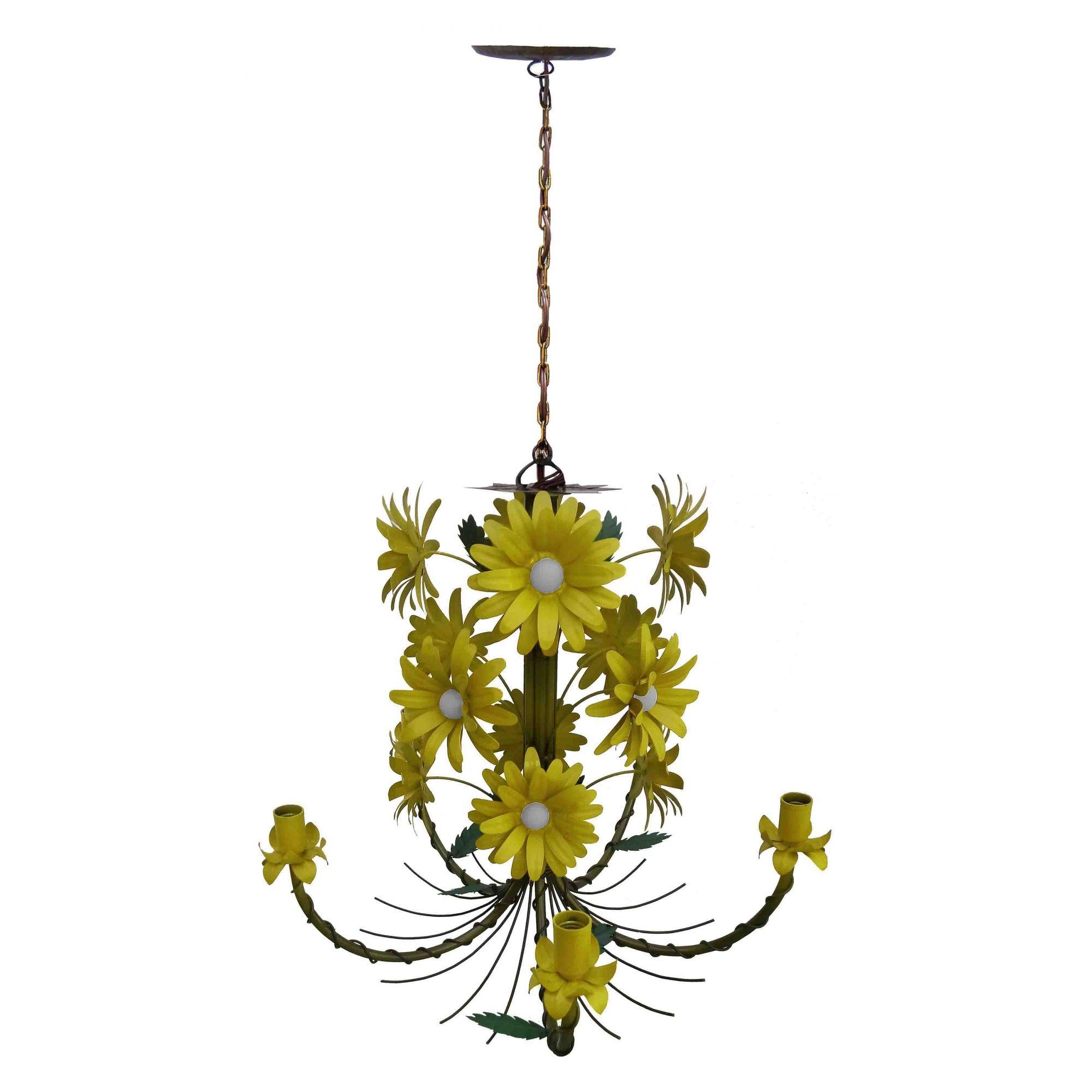 Lustre Artesanal Sala de Jantar Rustico com Flores de Ferro 05 Bocas