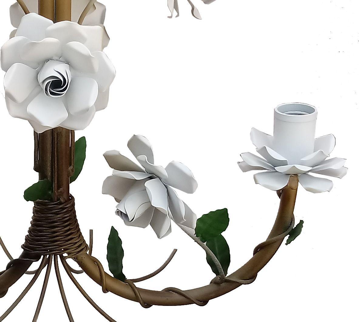 Lustre Artesanal Iluminação Media para Cozinha Pequena com Flores