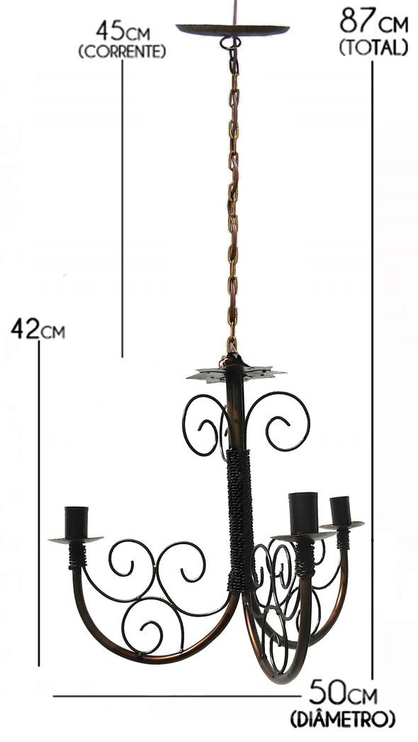 Lustre Artesanal de Ferro para Sala de Jantar Rustico Simples