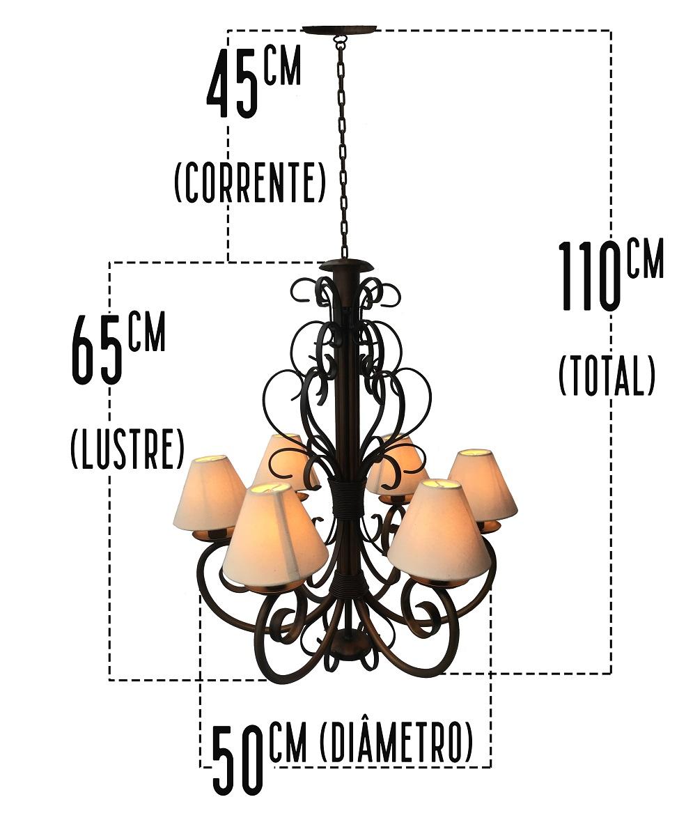Lustre Artesanal  Rustico De Ferro com Cúpulas Para Sala De Jantar