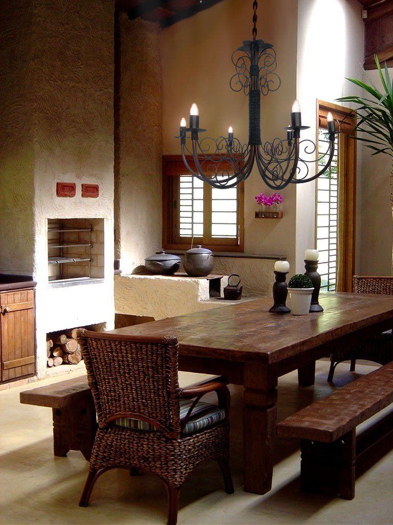 Lustre Artesanato Mineiro de Sala de Jantar em Ferro Rustico Ouro Sujo