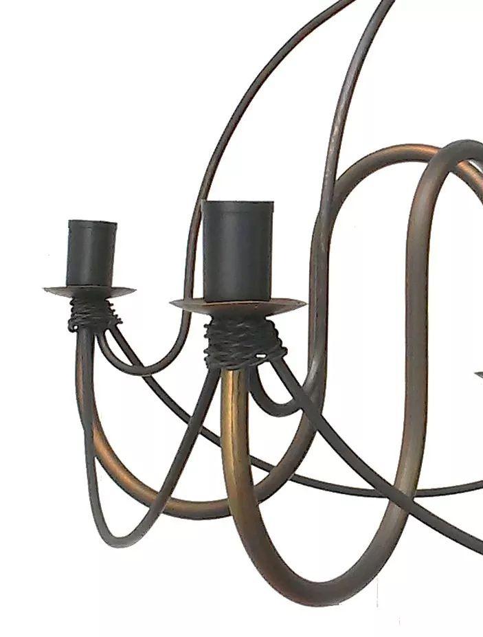 Lustre para Sala Rustico Artesanal de Ferro 4 Lâmpadas Modelo Cecília