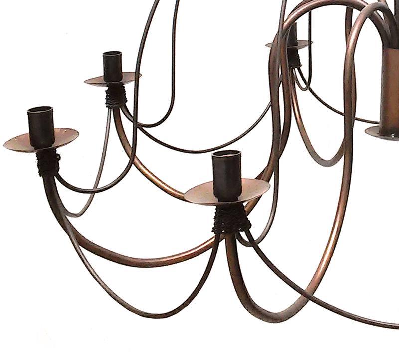 Lustre De Ferro para Sala Artesanal Rústica Colonial Envelhecido com 8 Bocais