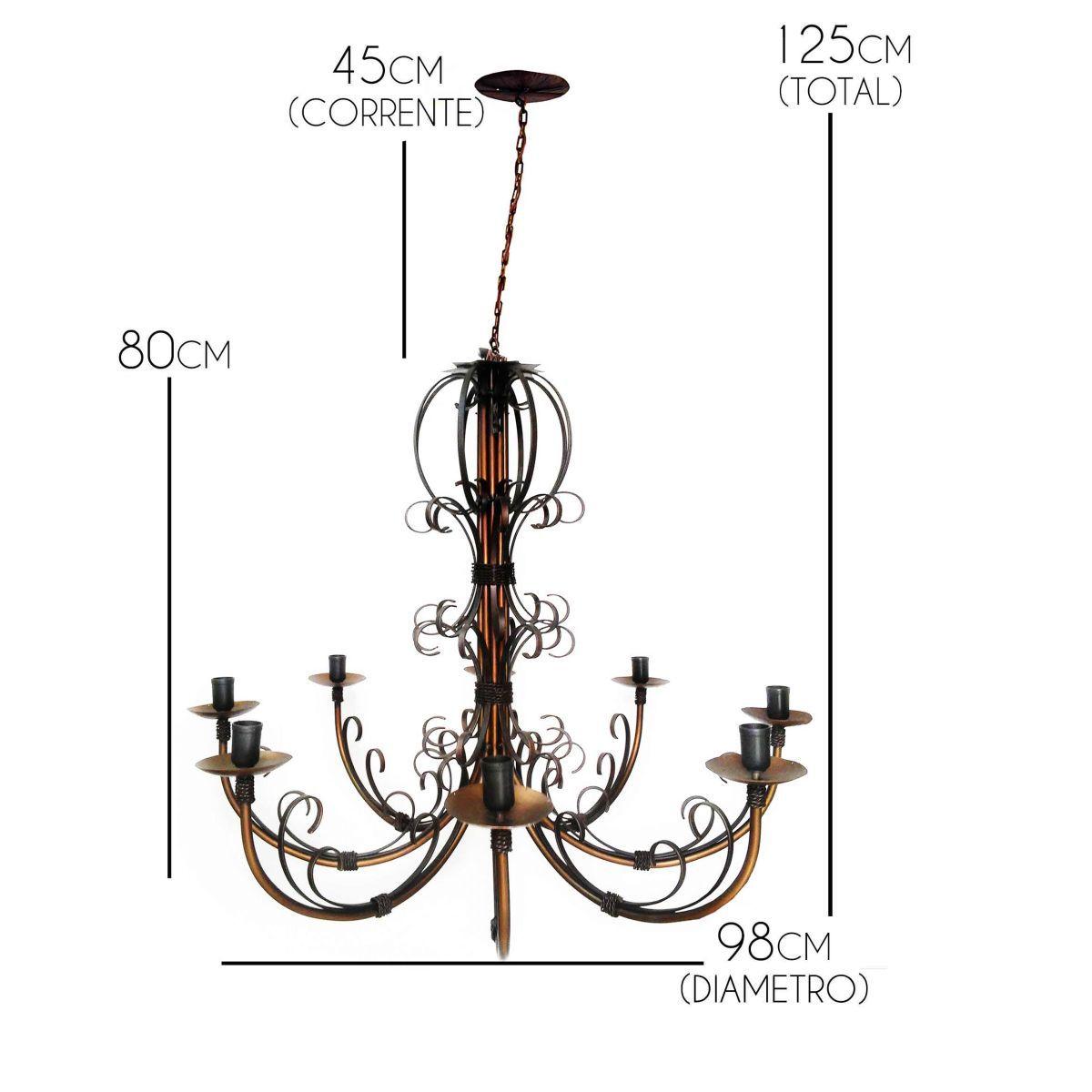 Luminaria De Ferro Artesanal Para Sala Estar Rustica para 8 Lâmpadas