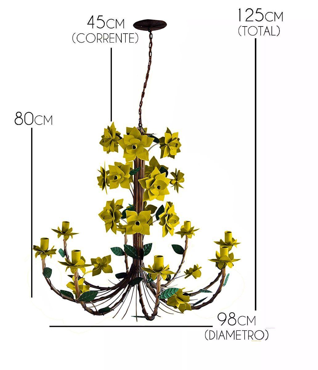 Lustre De Ferro Flores Rusticas Artesanal para Sala Fabricação Própria