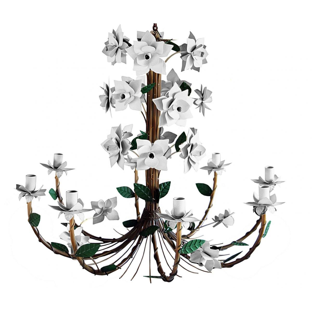 Lustre Grande de Ferro para Sala Artesanal com 8 Bocais de Flores