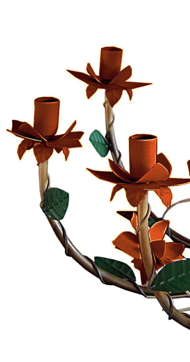 Lustre Rustico de Ferro com Flores para Salão de Festas e Eventos 08 Lâmpadas