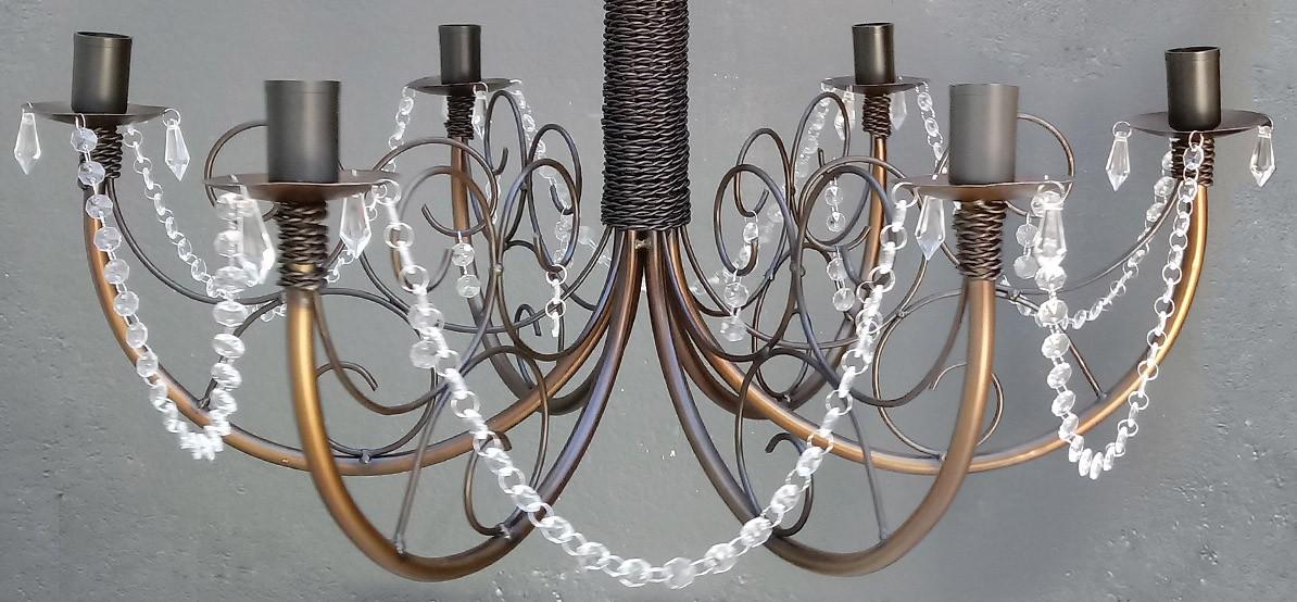 Lustre com Cristal Acrilico De Ferro Rustico Artesanal Para Sala de Jantar