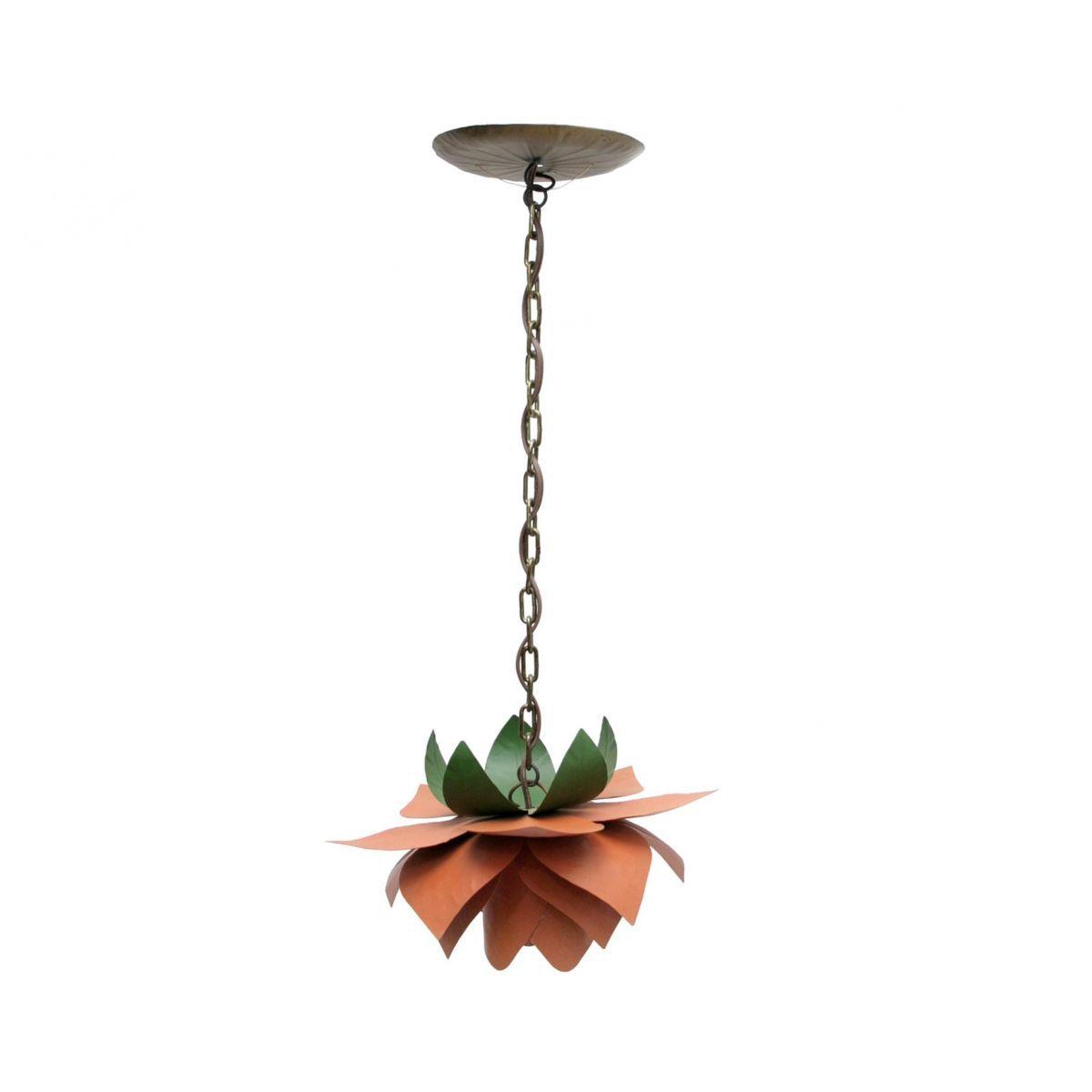 Luminaria de Flor Pendente Simples Para Varanda em Ferro Artesanal Rustico