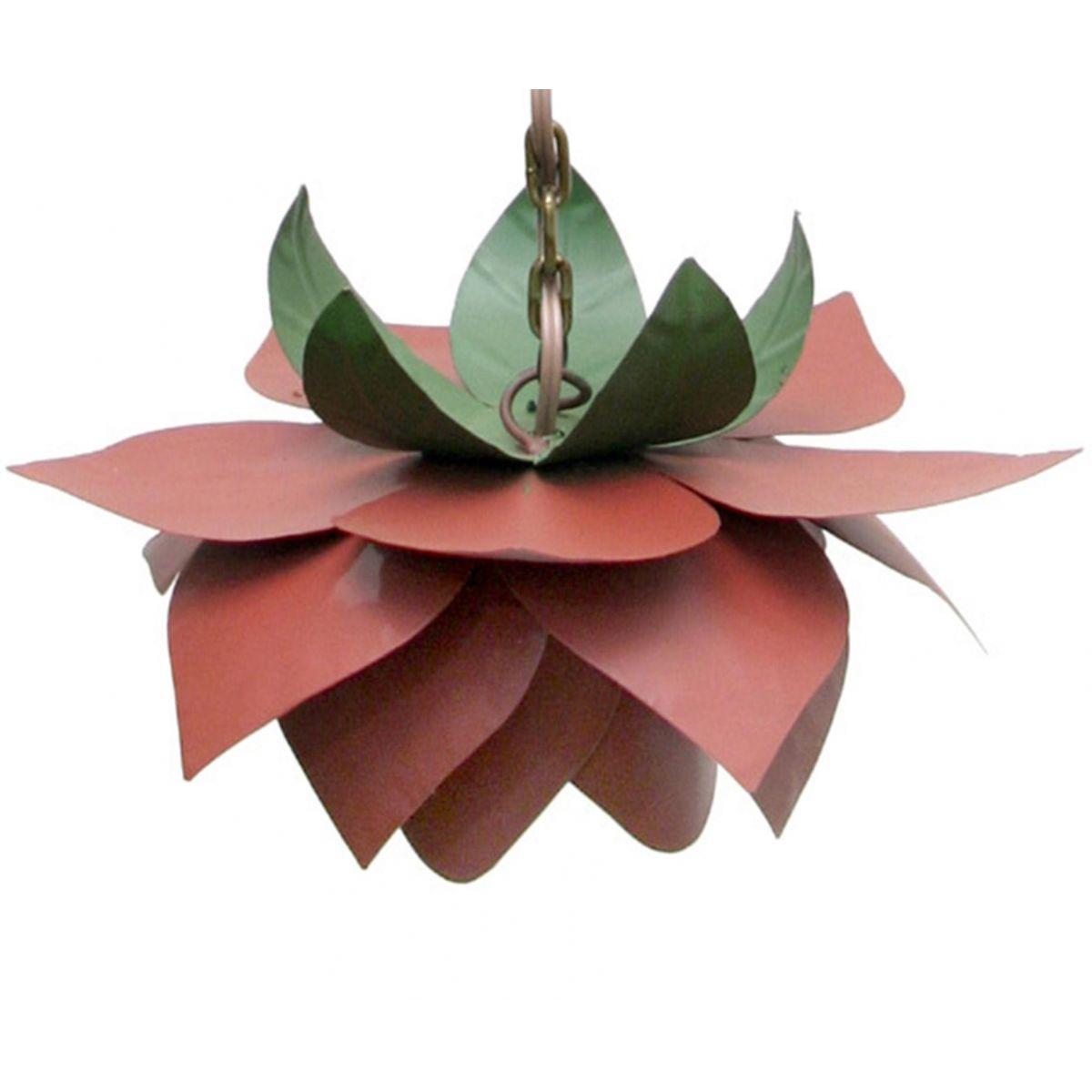 Lustre Para Quarto Pequeno de Ferro Artesanal Rustico 01 Boca com Flor